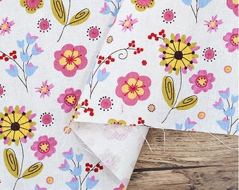 """Flowers Cotton Linen - Ivory - 57"""" Wide - By the Yard 87185"""