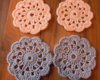 set of 4 crochet coasters / 4 Crochet Doilies 2 peach and 2 parma violet coasters hand made