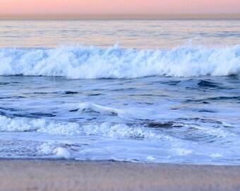 Pastel Beach Sunrise - Ocean Waves Photography Photo Print - Size 8x10, 5x7, or 4x6