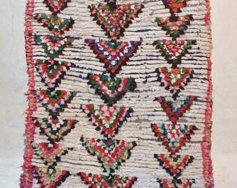 WILD, BAREFOOT & FREE 6' x 4' Boucherouite Rug. Tapis Moroccan Berber. Mid Century Modern Danish Design Compliment. ZA16-141