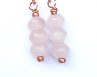 Tiny Rose Quartz Earring, Unique Anniversary Present, Gift for Fiance Under 35,