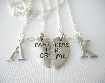 2 Partners in Crime- Initial Best Friend Necklaces (Set)