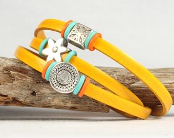 Yellow leather wrap bracelet, Triple wrap leather bracelet, Charm bracelet, Magnetic clasp, CarolMade L77