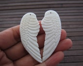 2.2 Inch x 0.86 Inch Double sided  Pair of Hand Carved  medium  Angel Wing, Earrings, Drilled  , jewelry making supplies  B5654