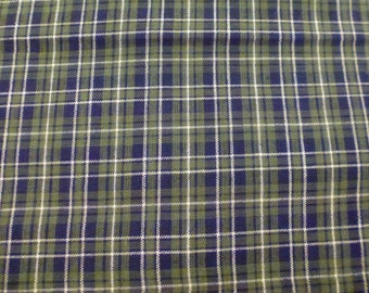 One Yard of Mini Plaid Fabric with Navy Blue, Black, White and Sage Green
