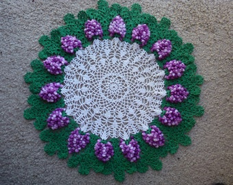 Gorgeous Vintage Crocheted Doily with Varigated Grapes Surrounded by Green with White Center
