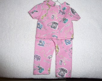 """18"""" Doll Pajama's With Telephone Motif   PJ'S Fits American Girl, Madame Alexander and Gotz Dolls"""