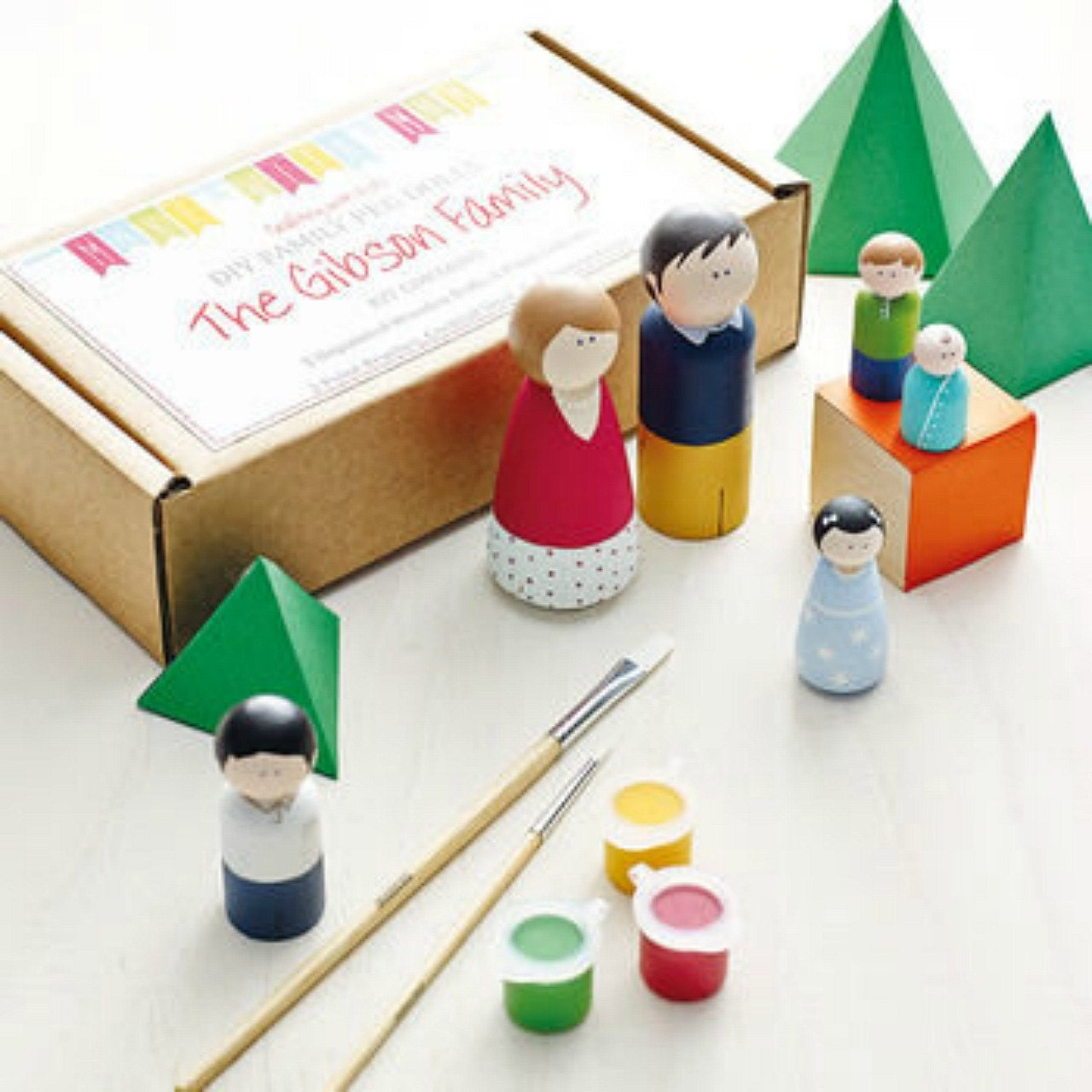 Peg doll kit family of 4 wooden dolls kids craft kit diy for Wood craft ideas for kids
