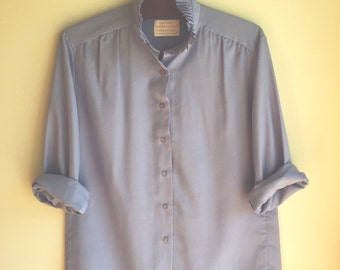 SALE! Periwinkle Blouse with Ruffle Collar