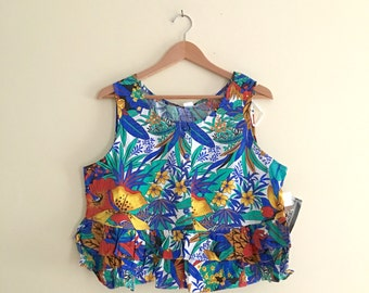 Vintage Deadstock Tropical Floral Cropped Top / Peplum Ruffled Sleeveless Button Down / Hawaiian Print / Festival - 1980s