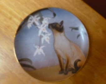 Vtg 1989 Cats and Flowers plate by Irene Spencer Nose in Bloom Danbury Mint