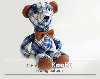 Bear sewing pattern, memory bear pattern, sew your own soft toy Bear - instant download pdf pattern - sewing projects