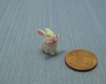 Gaël Miniature Vintage  shabby chic sweet bunny pink bow baby Dollhouse Miniature child toy Accessory