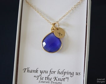 5 Initial Bridesmaid Necklace Blue, Bridesmaid Gift, Royal Blue Gemstone, Gold, Monogram Jewelry, Personalized,Blue Gemstone Charm,Dark Blue
