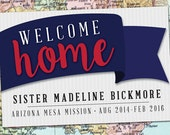 PRINTED Welcome Home BANNER 2'x3' with grommets / LDS Homecoming Poster / Ribbon Poster / #WelcomeHome #Missionary #LDSMission