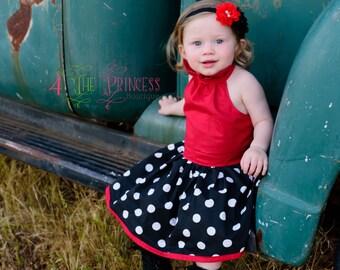 ruffle neck dress, red and black and white polka dot dress, girls dress, toddler dress,