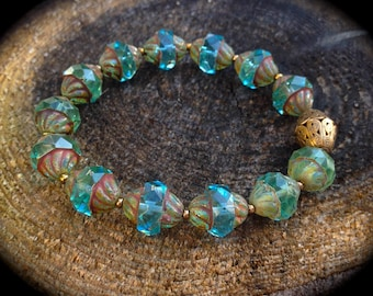 Turquoise, Turquoise, Turquoise and Exquisite Czech rondelle (cathedral) crystal bracelet