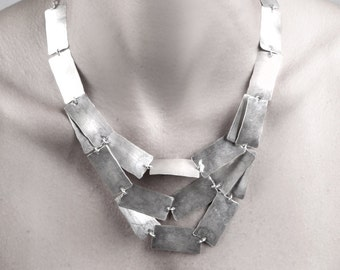 Statement necklace, Silver minimalist geometric necklace, handmade jewelry, square necklace, FREE SHIPPING