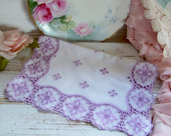 Vintage Embroidered Linen, Embroidered Doily, Vintage Doilies, Purple Linens, Vintage Purple Doilies, Embroidery, Shabby Style Linens, Chic