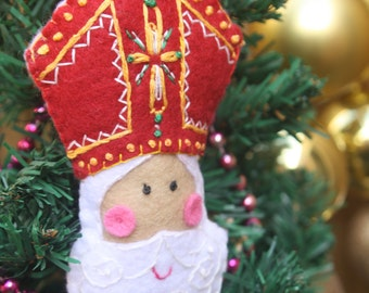 Hand Embroidered Saint Nicholas Felt Plushie Ornament ~ Made To Order