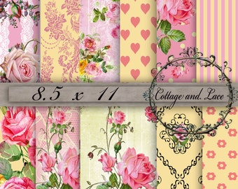 Digital Floral Paper, Yellow and Pink Printable Prints, Yellow and Pink Scrapbook Paper, Digital Shabby Chic, Digital Background, P 84LB
