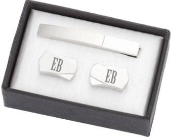Monogrammed Cufflinks and Tie Clip Gift Set