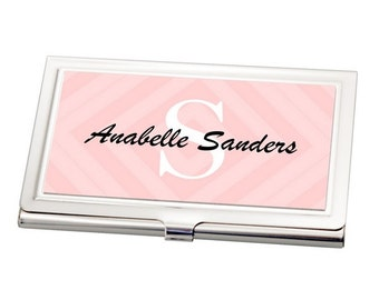 Personalized Pink Chevron Business Card Holder