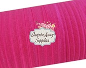 "Shocking Hot Pink 5/8"" fold over elastic, shiny elastic, elastic by the yard, FOE elastic, diy headband supply. elastic for baby headband"