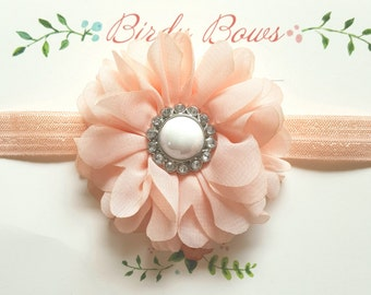 Peach Flower Headband, Baby Headbands, Newborn Headbands, Infant Headbands, Baby Girl Bow, Infant Hair Bow,