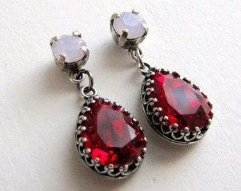 Estate Style Ruby Red and Rose Water Opal Swarovski Crystal Earrings Cushion Pear