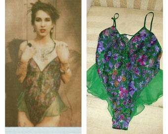 80s Vintage Victoria Secret Satin Teddy hipster indie
