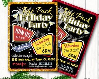 Casino Theme Party, Las Vegas. Rat-Pack Themed Holiday Invitation. Retro Party. Birthday Invite.  Vintage Party