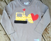 Limited Edition Valentine's Day Construction Digger Shirt For Boy's Baby, Toddler, Youth