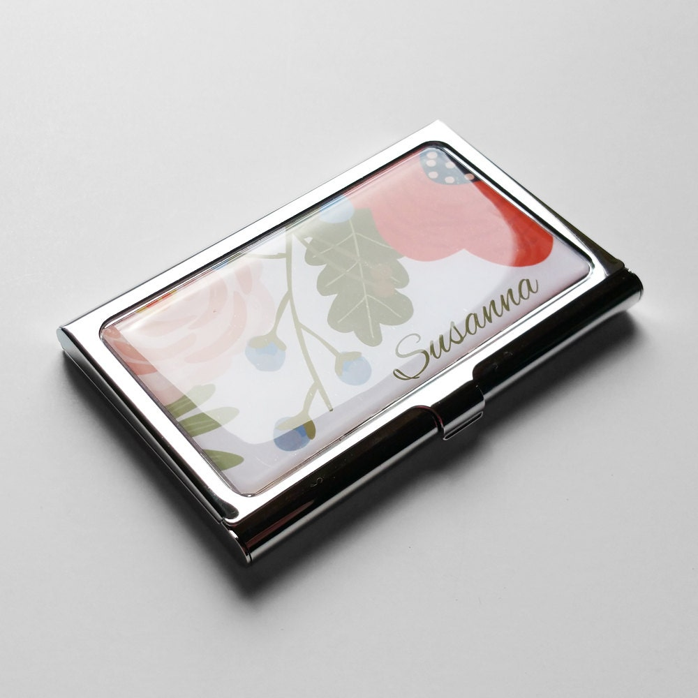 Personalized Business Card Case Business Card Holder Flowers