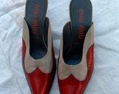 free shipping MIU MIU oxford style elegant shoes open toe 38 1/2 size circa 1990's