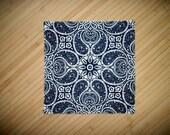 "Paisley Medallion Mandala Crystal Mat. Tabletopper. Wall Art. Dark Blue and White. 12"" x 12"". Cotton duck fabrics. U.S.A. made"