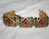Vintage Crown Trifari Enamel Bracelet, L'Orient Bracelet, Rare Bracelet, 1950s Jewelry