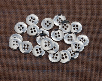 """11 Vintage 11/16"""" Metal Buttons. Shiny Silver with 4 Holes. Plain Design. Mildly Rounded Front and Concave Back. High Quality. Item 3690M"""