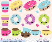 INSTANT DOWNLOAD - Kawaii Coffee and Donut Clipart and Vectors for personal and commercial use