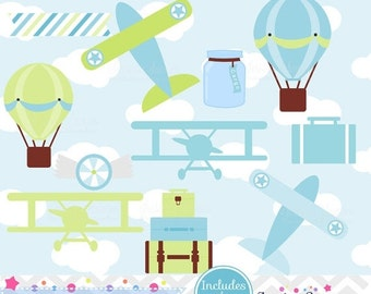 80% OFF - INSTANT DOWNLOAD, boys airplane clipart and vectors for personal and commercial use