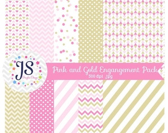 80% OFF - INSTANT DOWNLOAD - Pink and Gold Digital Paper Pack for Personal and Commercial Use
