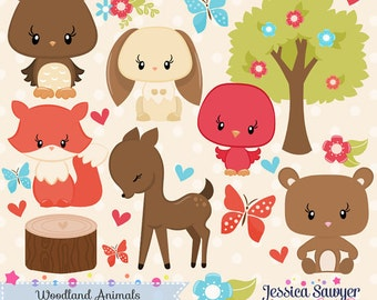 INSTANT DOWNLOAD, woodland animals clipart, forest clip art, for personal use, commercial use, party supply, scrapbooking