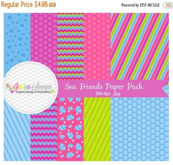 80% OFF - INSTANT DOWNLOAD,  Sea friends paper - 8.5 x 11- printable - ocean - whimsical paper - commercial use - scrapbook - card making
