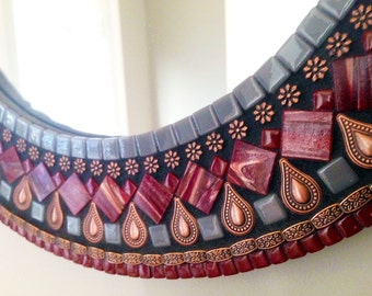Round Wall Mirror, Mosaic Mirror, Red and Copper, Decorative Mirror