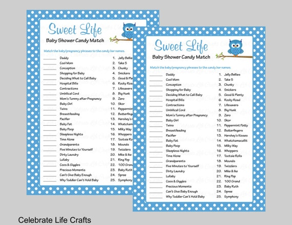 Sweet Life Baby Shower Game With Answer Key Printable Candy Bar