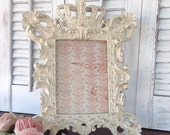 Shabby Chic White CROWN Frame - 5 x 7 Table Top - French Inspired Baroque