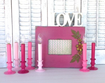 7 Pink Candeliers - Shades of Pink Candlesticks - Battery Operated Table Top Flameless Lighting