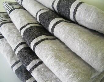 4 Stone Washed Natural Linen Bath Towels / Sheets for SPA, Sauna, Beach Towel, Blanket  - Black Stripes - Pure Flax Bathroom Linens
