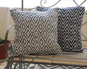 Woven Cushion Covers - Fair Trade Indigo Woven Cotton Cushion Pillow Covers - Diamond or Chevron