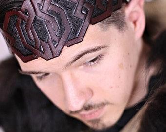 Dwarf leather crown,circlet,burgundy,black,dwarvish,headband,cuir,larp,costume,fantasy